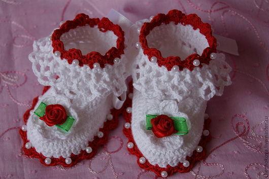 Для новорожденных, ручной работы. Ярмарка Мастеров - ручная работа. Купить Шапочка и пенетки для новорожденной девочки. Handmade. Белый