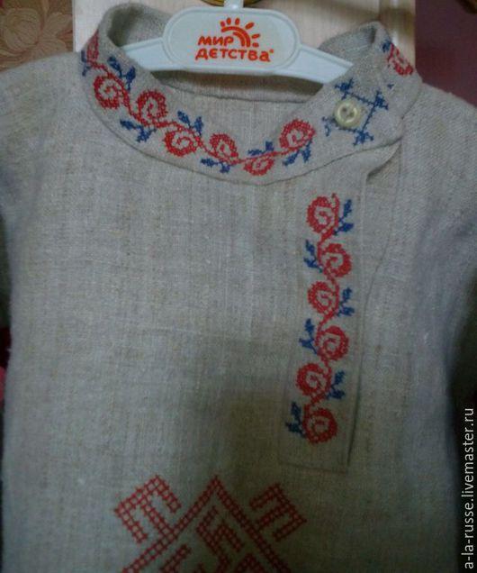 Одежда ручной работы. Ярмарка Мастеров - ручная работа. Купить Косоворотка детская конопляная с вышивкой славянских оберегов. Handmade. Серый