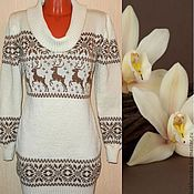 Одежда handmade. Livemaster - original item Sweater dress knit with a Norwegian ornament(pastel). Handmade.