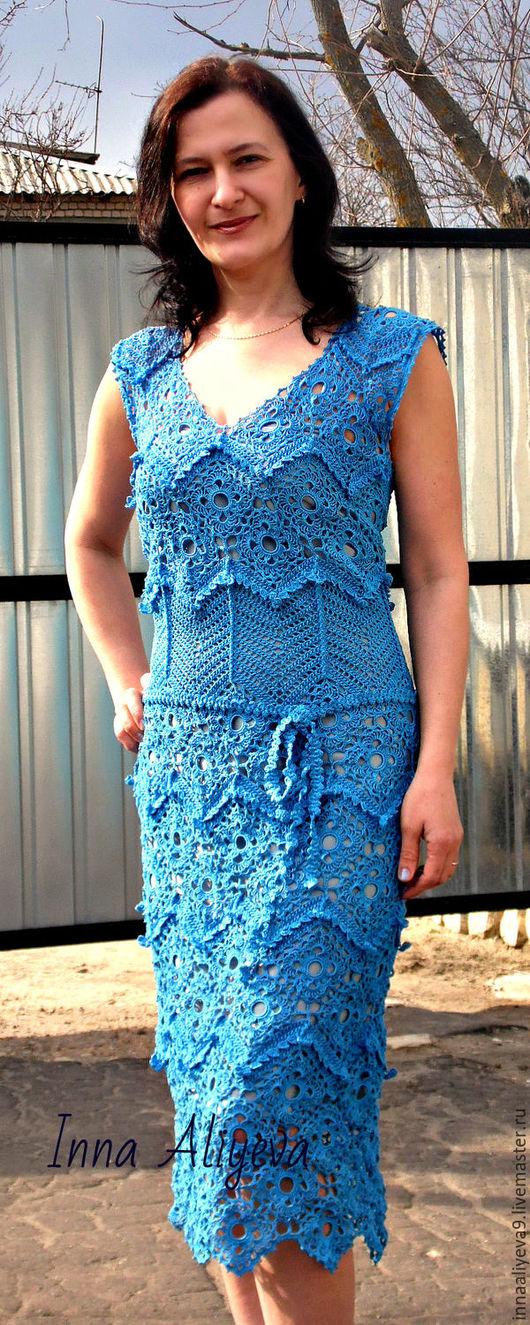 Платье `Весеннее настроение`. Авторская работа. Свяжу на заказ. Купить синее платье. Handmade. Платье вязаное крючком. Платье на заказ.