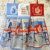 Для дома и интерьера ручной работы. Ярмарка Мастеров - ручная работа Вафельные полотенца с держателем Я люблю Париж. Handmade.