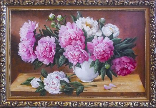 """Картины цветов ручной работы. Ярмарка Мастеров - ручная работа. Купить """"Пионы в белой вазе"""". Handmade. Розовый, цветы"""