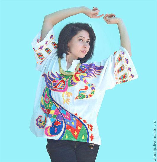 """Этническая одежда ручной работы. Ярмарка Мастеров - ручная работа. Купить рубаха """"Огненная птица"""". Handmade. Орнамент, павлин, вышивка"""