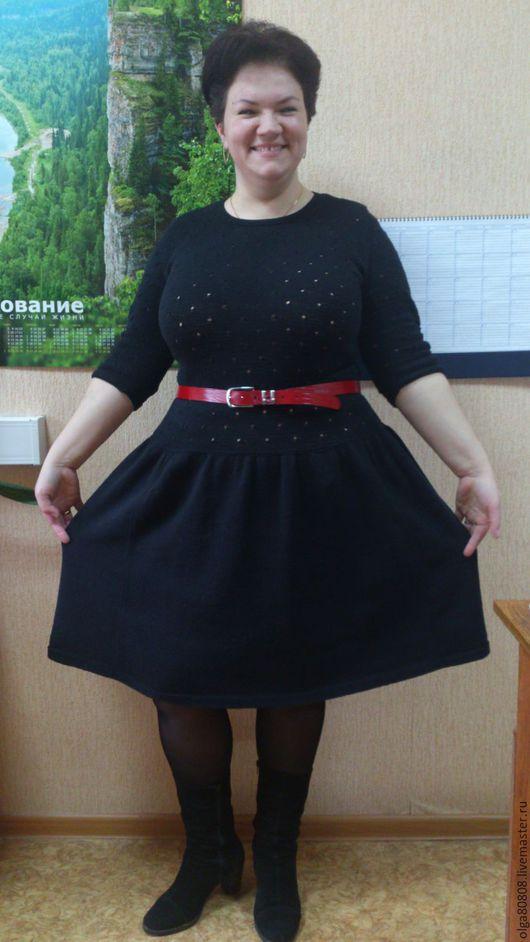 """Большие размеры ручной работы. Ярмарка Мастеров - ручная работа. Купить Платье вязаное """"Звездная полночь"""". Handmade. Черный"""