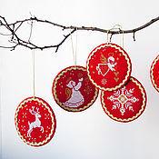 Для дома и интерьера ручной работы. Ярмарка Мастеров - ручная работа Новогодние подвески Комплект из 6 штук. Handmade.