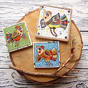 """Для дома и интерьера ручной работы. Ярмарка Мастеров - ручная работа Изразцы керамические """"Птицы"""" (сет из 3 х штук). Handmade."""