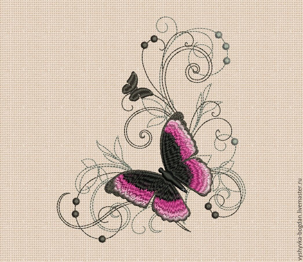 Machine Embroidery Design Silk Butterfly bt183. Embroidery for hoops 180 x 130 mm. Formats: dst exp pes hus jef jef + vip vp3 xxx