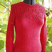Одежда ручной работы. Ярмарка Мастеров - ручная работа джемпер из хлопка с акрилом Красный. Handmade.