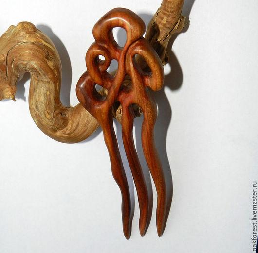 """Заколки ручной работы. Ярмарка Мастеров - ручная работа. Купить Заколка для волос из дерева """"Багряный закат"""" (дикая слива). Handmade."""