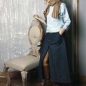 Одежда ручной работы. Ярмарка Мастеров - ручная работа Юбка Джинсовая с застёжкой. Handmade.
