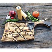 Посуда handmade. Livemaster - original item Board for filing steak and grill Hatchet solid ash with firing. Handmade.