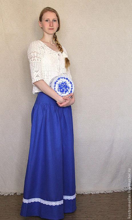 юбка в пол, макси юбка, длинная юбка, юбка в ретро стиле, юбка барышня-крестьянка, юбка из льна.юбка с кружевом