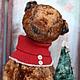Мишки Тедди ручной работы. Рождественский мишка. Марина Струк. Ярмарка Мастеров. Теддик, винтажный плюш