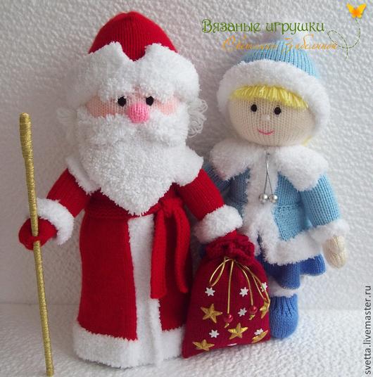 """Новый год 2017 ручной работы. Ярмарка Мастеров - ручная работа. Купить """"Дедушка Мороз и Снегурочка"""" интерьерные вязаные куклы. Handmade."""