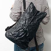 Сумки и аксессуары handmade. Livemaster - original item Black backpack, genuine leather, pressed, Black backpack trepang.. Handmade.