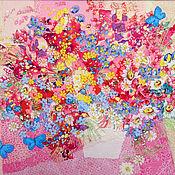 Картины и панно handmade. Livemaster - original item Panel with flowers Pink summer. PDI. Artistic burning on silk.. Handmade.