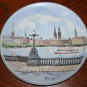 Винтаж handmade. Livemaster - original item Decorative plate with a view of g. Motsch, Villeroy & Boch, Germany. Handmade.