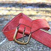 Аксессуары handmade. Livemaster - original item Red Women`s belt with metal buckle. Handmade.