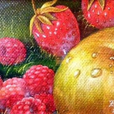 Картины и панно ручной работы. Ярмарка Мастеров - ручная работа Авторская картина Малина, клубника и яблоко. Handmade.