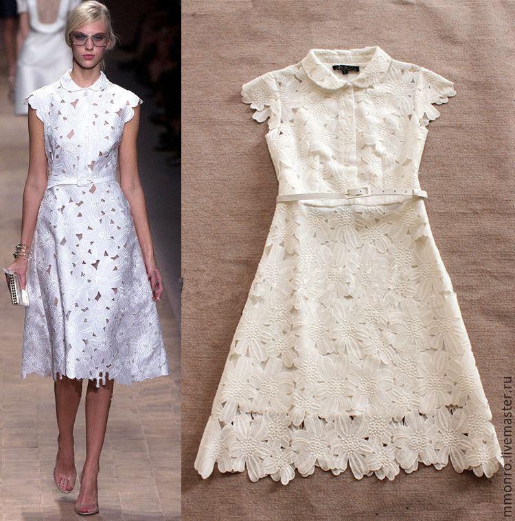 Платья с кружевом и шитьем
