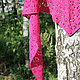 """Шали, палантины ручной работы. Шаль - косынка """" Цветок шиповника """". Knitted Delicacies @stolbova_ola. Интернет-магазин Ярмарка Мастеров."""