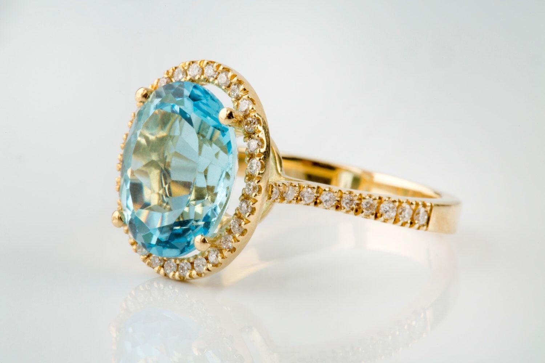 Кольца ручной работы. Ярмарка Мастеров - ручная работа. Купить Золотое кольцо с Топазом И бриллиантами. Handmade. Топаз