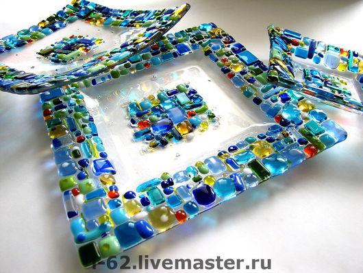 Декоративная посуда ручной работы. Ярмарка Мастеров - ручная работа. Купить тарелочки из стекла, фьюзинг  Солнце в воде. Handmade. Стекло