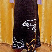 Одежда ручной работы. Ярмарка Мастеров - ручная работа юбка вязаная тёплая длинная с вышивкой Хозяйка кошек. Handmade.