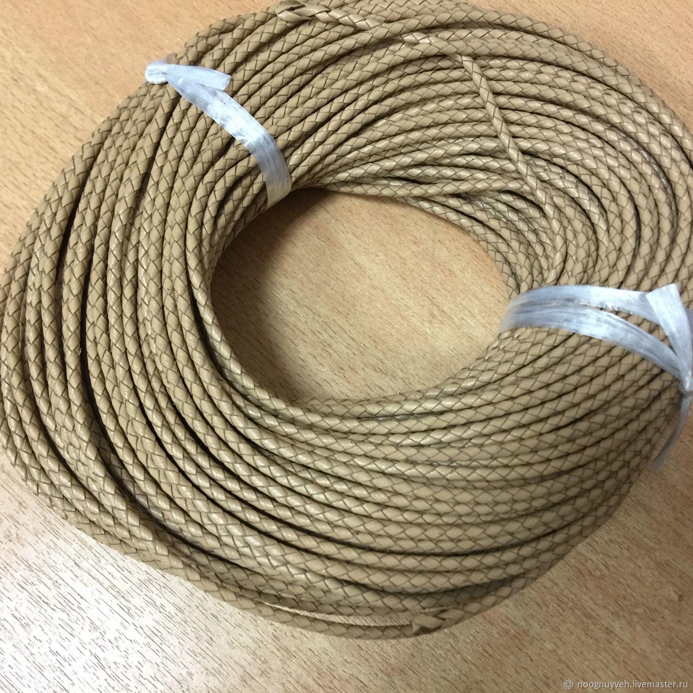 Для украшений ручной работы. Ярмарка Мастеров - ручная работа. Купить Шнур кожаный плетёный ,3 мм, бежевый. Handmade.