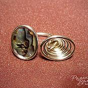 Украшения ручной работы. Ярмарка Мастеров - ручная работа серебряный комплект с галиотисом. Handmade.