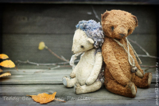 Мишки Тедди ручной работы. Ярмарка Мастеров - ручная работа. Купить Ёжик и Медвежонок.... Handmade. Коричневый, коллекционный мишка