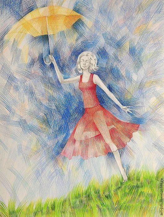 """Символизм ручной работы. Ярмарка Мастеров - ручная работа. Купить рисунок """"Ветер перемен"""" (56х42). Handmade. Красный, синее небо"""