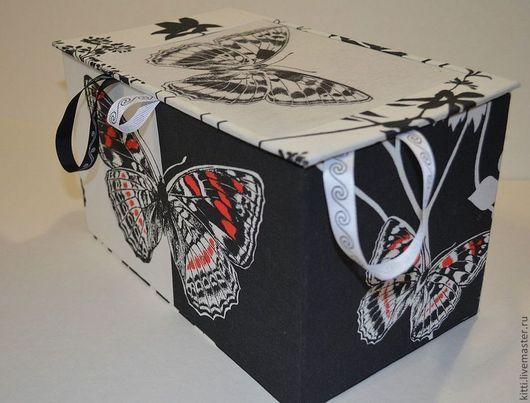 Шкатулки ручной работы. Ярмарка Мастеров - ручная работа. Купить Шкатулка-короб Черно-белая бабочка. Handmade. Чёрно-белый