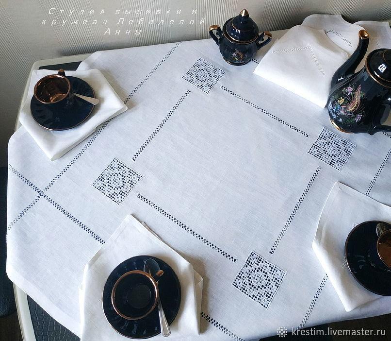 Tea linen set (tablecloth 90/90 6 napkins) 4 Cubans, Tablecloths, St. Petersburg,  Фото №1