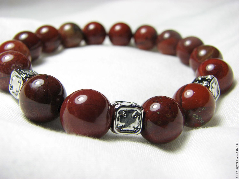 Bracelets Handmade Livemaster Bracelet Red Jasper Cross