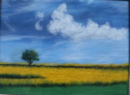 """Пейзаж ручной работы. Ярмарка Мастеров - ручная работа. Купить картина из шерсти """" Цветущее поле"""". Handmade. Желтый"""