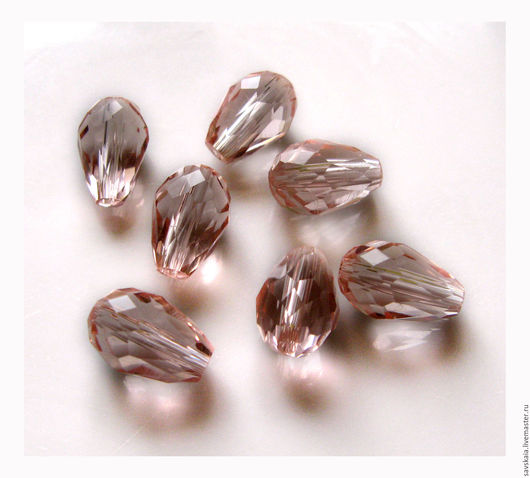 Бусины капля 11 x 8 мм, стеклянные, имитация кристалла, розовые