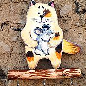 """Вешалки и крючки ручной работы. Ярмарка Мастеров - ручная работа Вешалка настенная """" Кот с мышкой """" вешалка для кухни. Handmade."""