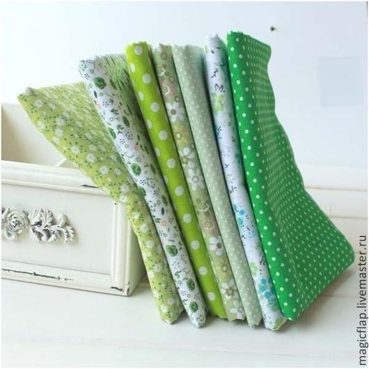 Другие виды рукоделия ручной работы. Ярмарка Мастеров - ручная работа. Купить Набор тканей для пэчворка Зеленый луг. 100% хлопок для текстиля, кукол. Handmade.
