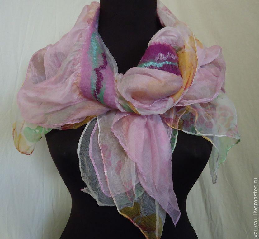 валяный  шарф  Ирисы, Палантины, Москва,  Фото №1