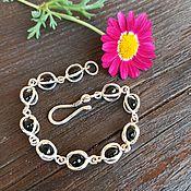 handmade. Livemaster - original item Silver bracelet with black onyx beads 925 sterling Silver. Handmade.
