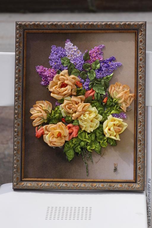 """Картины цветов ручной работы. Ярмарка Мастеров - ручная работа. Купить Картина, вышитая лентами """"Весеннее настроение"""". Handmade."""