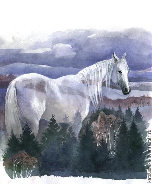 Фантазийные сюжеты ручной работы. Ярмарка Мастеров - ручная работа. Купить Иллюстрация к сказке. Handmade. Серый, белая лошадь, весна