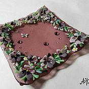 """Посуда ручной работы. Ярмарка Мастеров - ручная работа Фьюзинг, тарелка """"Фиалковая"""". Handmade."""