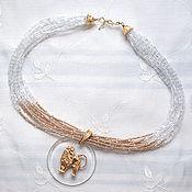 Украшения handmade. Livemaster - original item multirow necklace,vtg pendent in Versace`s style,Handmade,Crystal. Handmade.