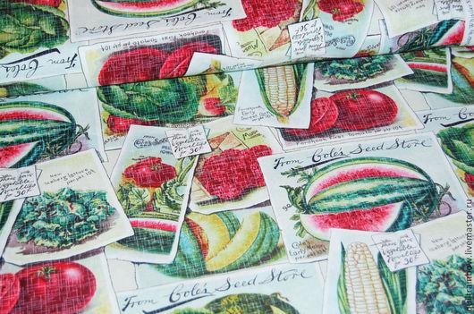 """Шитье ручной работы. Ярмарка Мастеров - ручная работа. Купить Хлопок """"Урожай"""" (крупный рисунок). Handmade. Американский хлопок, овощи"""