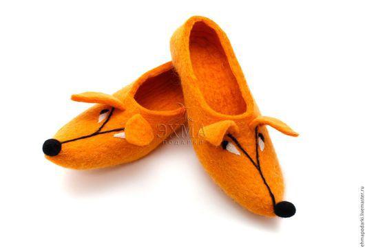 Обувь ручной работы. Ярмарка Мастеров - ручная работа. Купить Тапочки Лисички. Handmade. Войлочные тапочки, дизайнерские тапочки