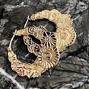 Винтажные серьги ручной работы. Ярмарка Мастеров - ручная работа Винтажные серьги KENZO, серебро в позолоте. Handmade.