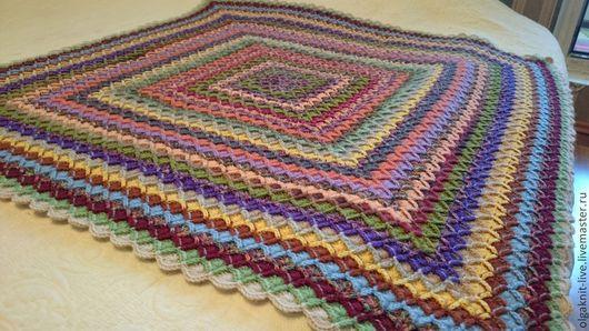 """Текстиль, ковры ручной работы. Ярмарка Мастеров - ручная работа. Купить Плед """"Цветочная поляна"""". Handmade. Разноцветный, шерстяной плед"""