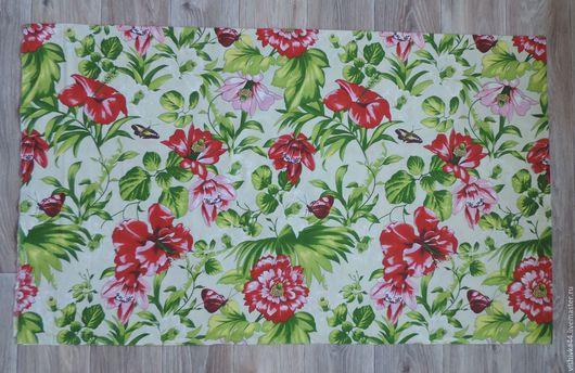 Шитье ручной работы. Ярмарка Мастеров - ручная работа. Купить Ткань лен хлопок крупные цветы. Handmade. Лен